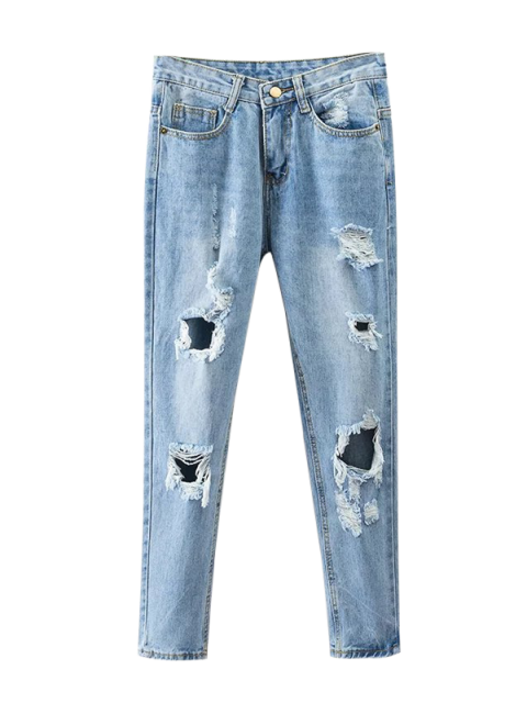 online Bleach Wash Ripped Tapered Jeans - DENIM BLUE S Mobile