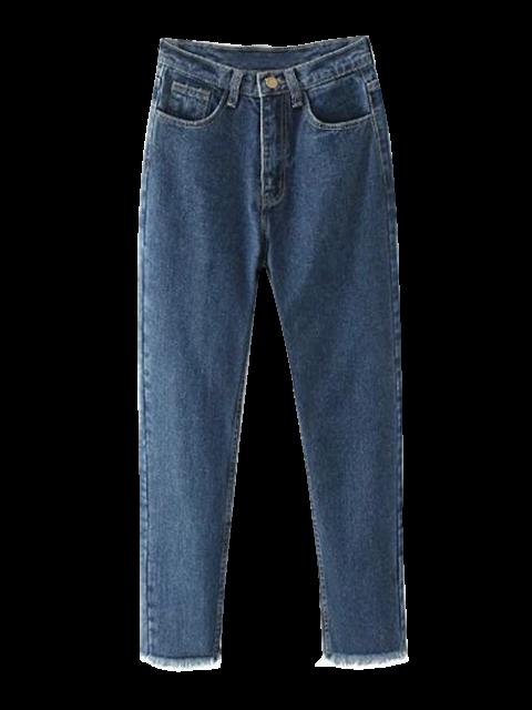 shops Tapered Frayed Hem Jeans - DEEP BLUE 2XL Mobile
