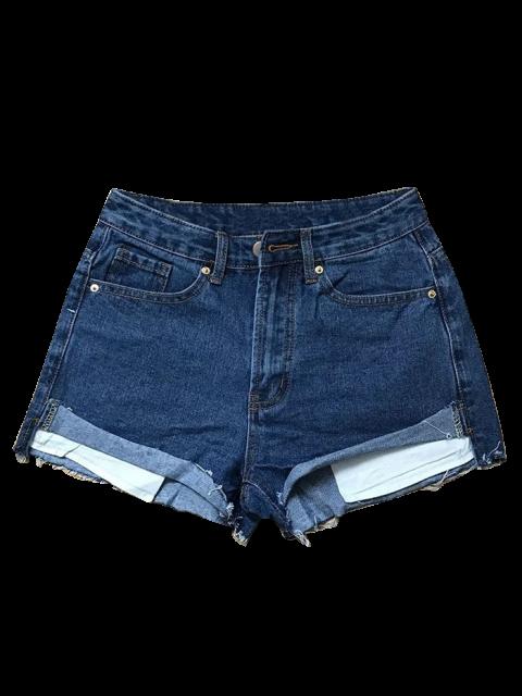 womens Cutoffs Denim Shorts - DEEP BLUE S Mobile