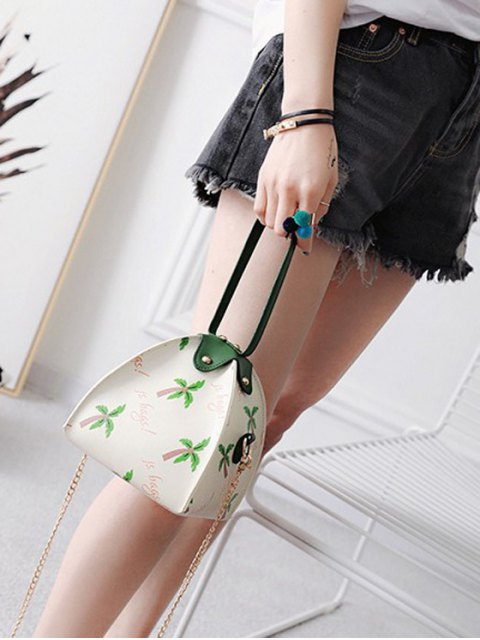 fashion Triangle Shaped Palm Print Wristlet Bag - WHITE  Mobile