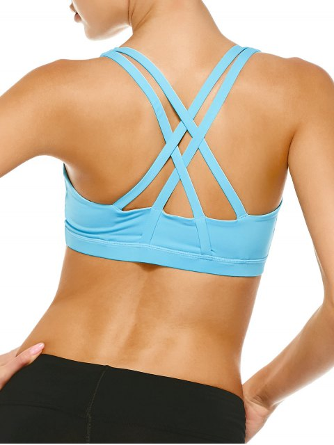best Strappy Crossover Sports Bra - BLUE M Mobile