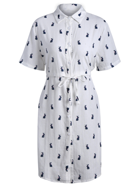 new Printed Button Up Drawstring Waist Shirt Dress - PURPLISH BLUE ONE SIZE Mobile