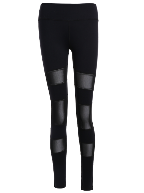 chic Geometric Mesh Panel Sheer Sports Leggings - BLACK L Mobile