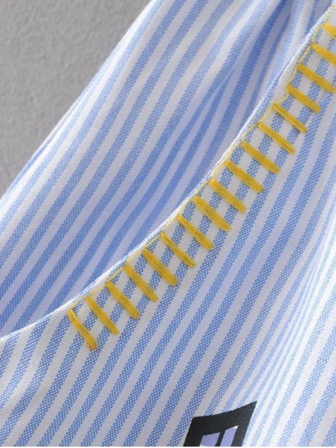 buy Stripes Patched A-Line Skirt - BLUE S Mobile