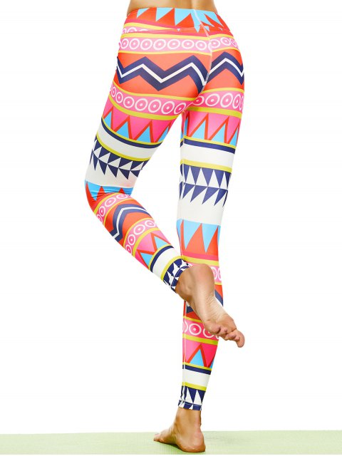 women's Zigzag Geometric Print Footless Leggings - MULTICOLOR L Mobile