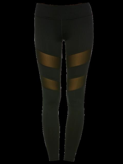 best Mesh Insert Sports Leggings - BLACK M Mobile