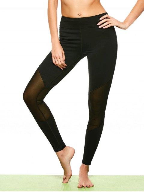 sale Mesh Insert Footless Yoga Leggings - BLACK L Mobile