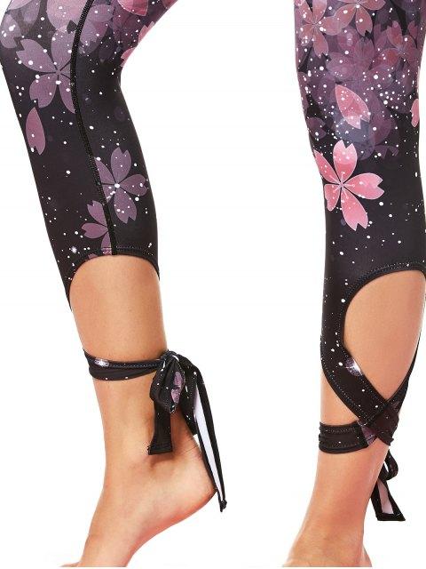 shops Cut Out Print Tie Hem Dancing Leggings - PINK L Mobile