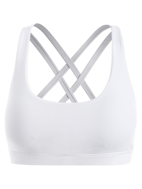 buy Strappy Crossover Sports Bra - WHITE M Mobile