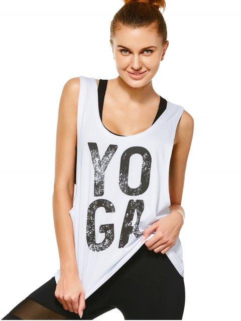 shop Yoga Dropped Armhole Sports Tank Top - WHITE M Mobile