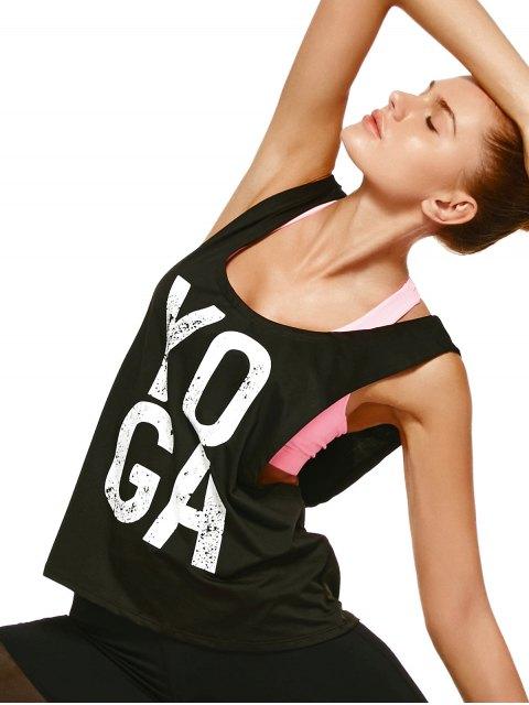 latest Yoga Dropped Armhole Sports Tank Top - BLACK M Mobile