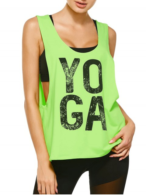 chic Yoga Dropped Armhole Sports Tank Top - FLUORESCENT YELLOW L Mobile