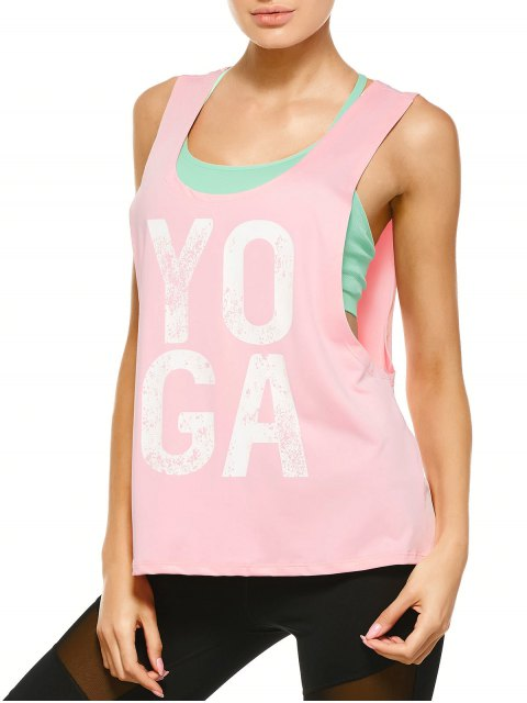 sale Yoga Dropped Armhole Sports Tank Top - PINK M Mobile