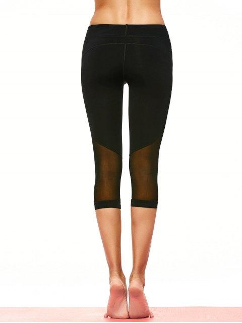 outfits Mesh Panel Capri Leggings - BLACK L Mobile