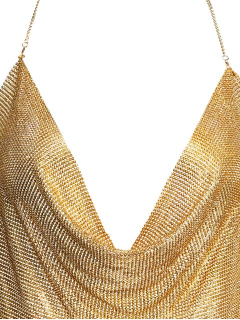 fashion Draped Metal Crop Top For Party - GOLD XL Mobile