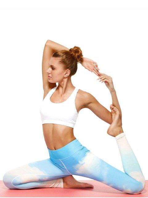online Sky Print Tie Dye Yoga Leggings - AZURE L Mobile