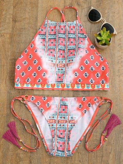 High Neck Tassels Tie Side Bikini - Peach Red