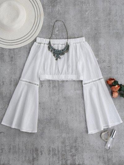 Off Shoulder Flare Sleeve Crop Top - White