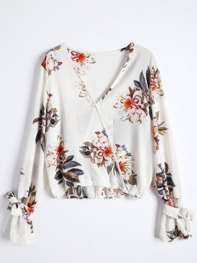 Floral Flare Sleeve Surplice Blouse