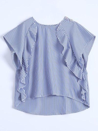 Dip Hem Volante Blusa Ray - Azul