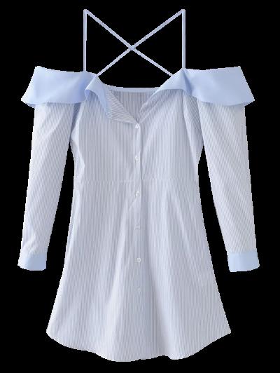 Flounced Cold Shoulder Casual Dress - Blue
