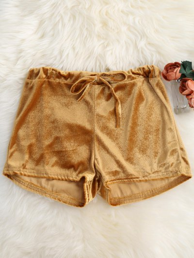 Loopback Waist Velvet Shorts - Golden