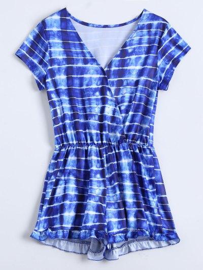 Striped Ruffle Hem Surplice Romper - Blue