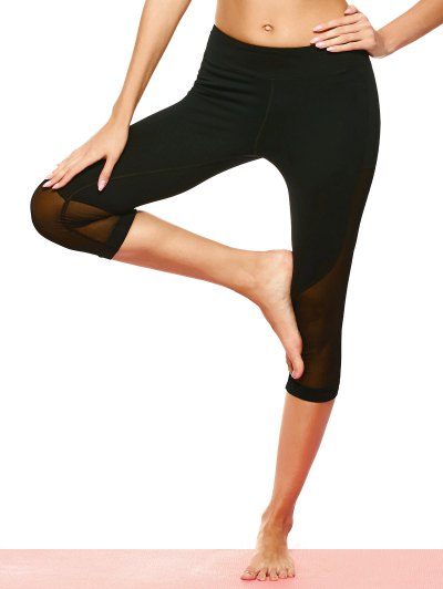 Mesh Panel Sports Capri Leggings