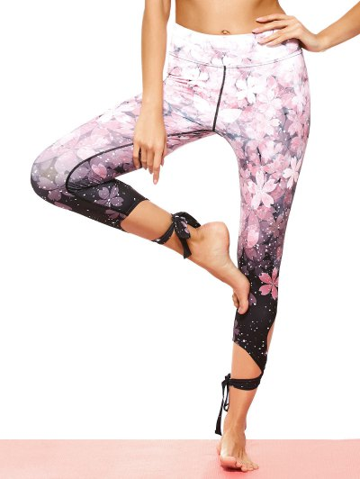 Cut Out Tie Hem Print Dancing Leggings