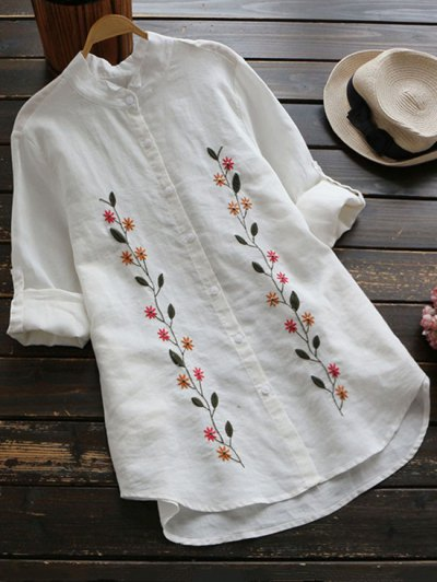 Floral Embroidered Button Up Linen Shirt - White