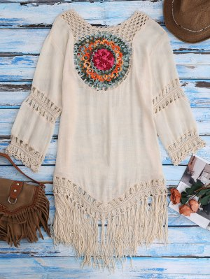 Crochet Bib Beach Cover-Up Tunic - Beige