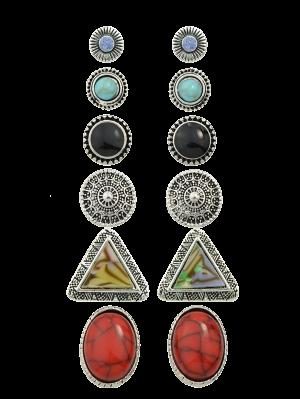 Boucles D'oreilles Strass En Cercles De Faux Turquoises - Argent