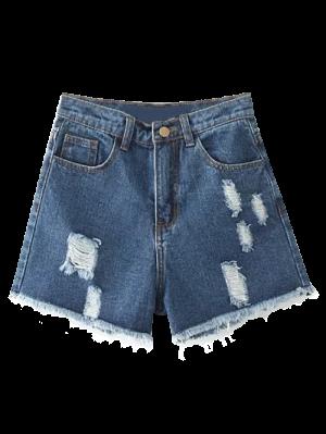 Cutoffs Distressed Denim Shorts - Deep Blue