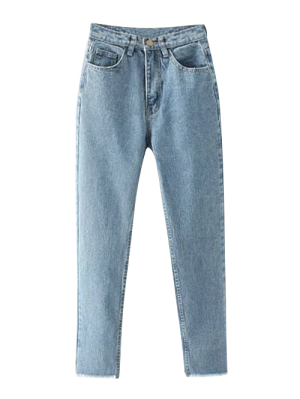 Effilées Effilochés Jeans Hem - Bleu Clair