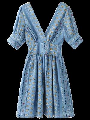 Printed Double V A-Line Dress - Blue