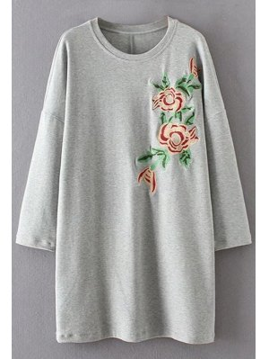 Long Sleeve Floral Embroidered Casual Dress - Gray