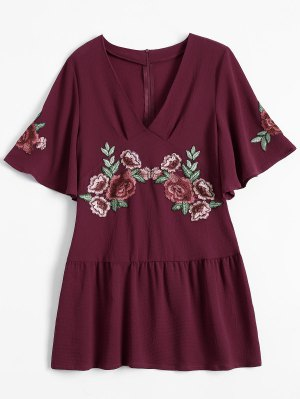 Embroidered Floral Ruffle Hem Dress - Wine Red