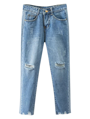 Cutoffs Ripped Tapered Jeans - Denim Blue