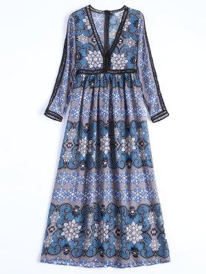 Sheer Plunge Floral Ladder Long Sleeve Dress - Gray