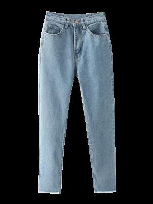 Cónicos Deshilachados Hem Jeans - Azul Claro