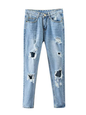 Bleach Wash Ripped Tapered Jeans - Denim Blue