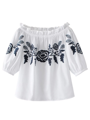 Off The Shoulder Ruffles Blouse - White