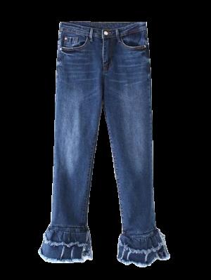 Cutoffs Layered Flare Jeans - Denim Blue