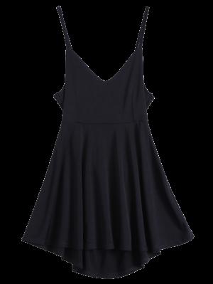 Backless Lace Up Skater Dress - Black