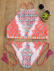 High Neck Tassels Tie Side Bikini