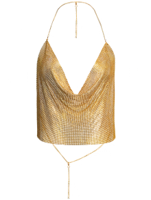 Draped Metal Crop Top For Party - Gold