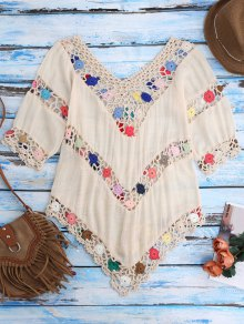 Crochet Chevron Plage Cover-Up Tunique - Ral1001beige
