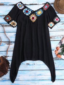 Pointed Hem Crochet Beach Cover-Up Tunic - Black