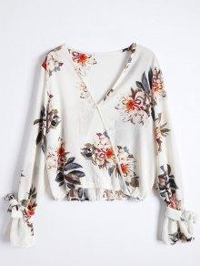 Floral Flare Sleeve Surplice Blouse - L