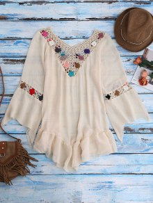 Bell Sleeve Crochet Flower Beach Cover-Up